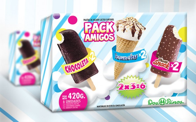 Dos Pinos Ice Cream Packaging Design