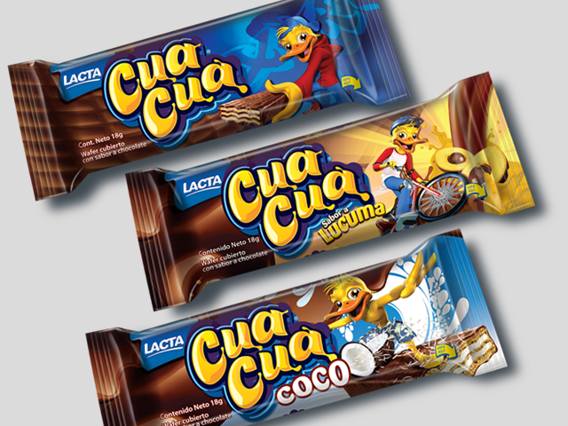 Packaging and character design for the line of products of the Cua Cua brand from Kraft Foods. Design: Imaginity.