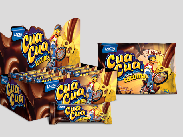 Packaging design and display for the line of products of the Cua Cua brand from Kraft Foods. Design: Imaginity.