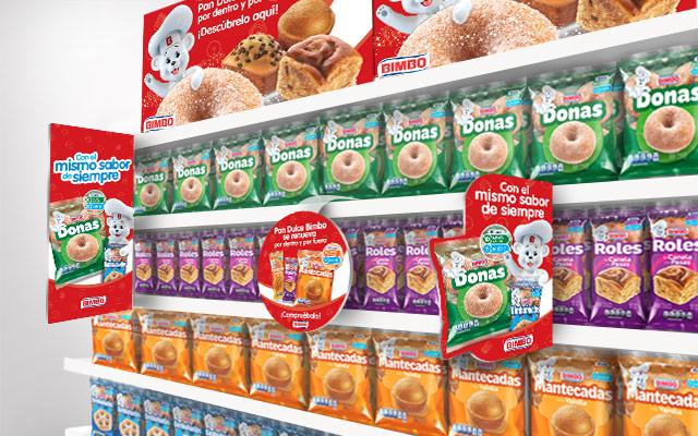 Activación de marca para Bimbo Pan dulce, productos dulces, en góndola, México, materiales punto de venta, Imaginity