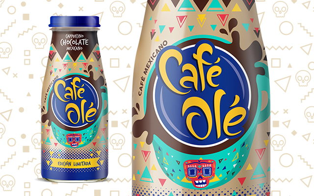 Packaging Design Beverage for Café Olé Ice Coffee Cappuccino Chocolate Special Edition, close-up label design, Mexico by Imaginity