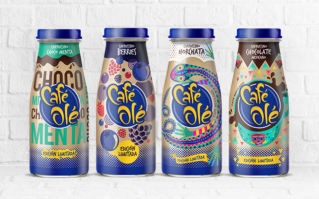 Packaging Design Comparation between four of the Café Olé Limited Edition flavors, Mexico by Imaginity