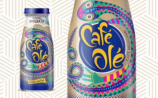 Diseño de empaque para Bebida Café Olé, Café Frío de Edición Limitada sabor Cappuccino Horchata, vista con detalle de la etiqueta, México por Imaginity