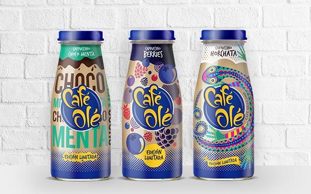 Diseño de empaque comparación entre tres de las Ediciones Limitadas de Café Olé, México por Imaginity