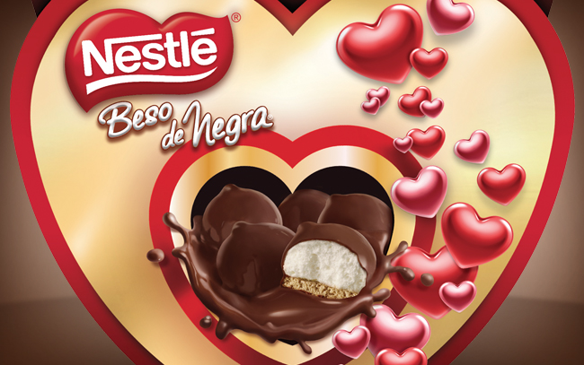 Packaging Design for Nestle Beso de Negra mush mellows chocolates Special edition, close-up pack, Colombia by Imaginity