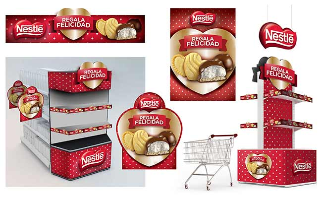 In store design for Nestle Beso de Negra mush mellows chocolates, love, perfect gift, Colombia by Imaginity