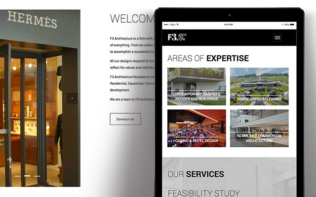 Responsive website creation, content and digital communication for F3 Architecture Argentina - Imaginity