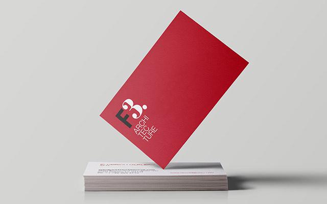Diseño gráfico de tarjetas personales para el estudio F3 Architecture, Argentina - Imaginity