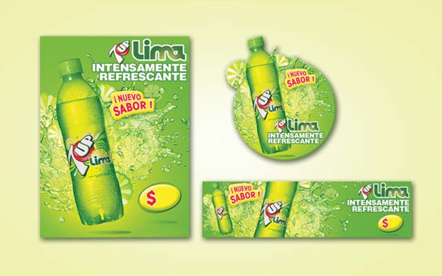 Development of graphic pieces for the 7Up Lima brand for point of sale, Argentina - Imaginity