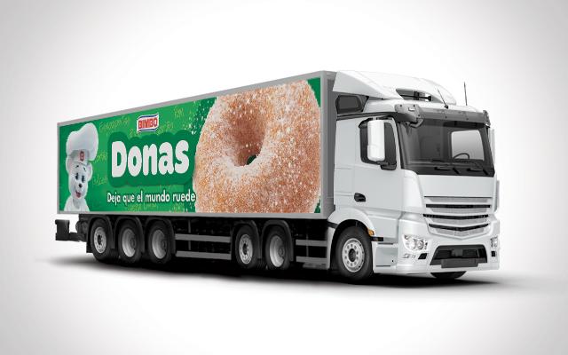 Activación de marca, diseño de flota de camiones de pan dulce para la comunicación de la marca Bimbo México. Diseño Imaginity