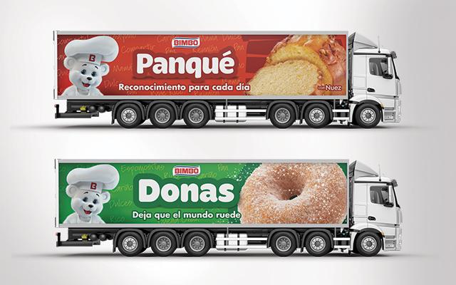 Activación de marca, diseño de flota de camiones de pan dulce para Bimbo México. Detalle del diseño. Diseño Imaginity
