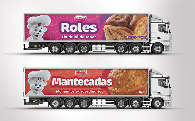 Brand activation, sweet bread truck fleet design for Bimbo México. Design detail. Design: Imaginity