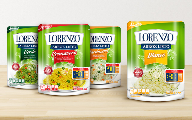 Complete line of packages of 4 flavors of Peruvian rice Lorenzo - Imaginity