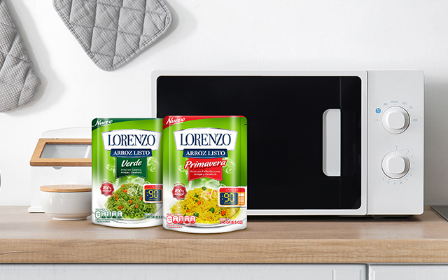 New brand and packaging for the 4 varieties of Lorenzo ready rice, spring, green, white and planter, Peru - Imaginity