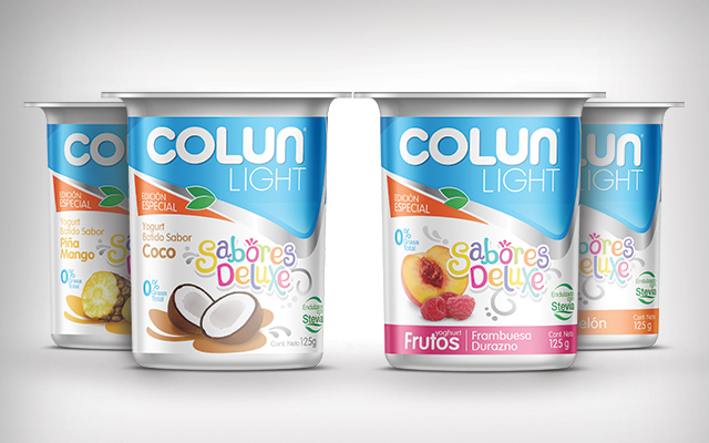 New packaging and branding design for the special edition Colun light Sabores Deluxe, Chile - Imaginity