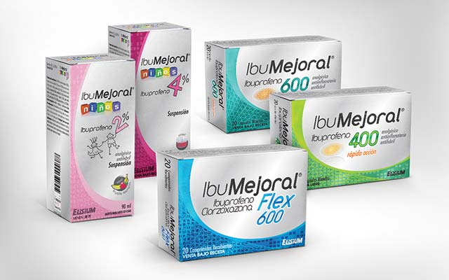 Detail of branding design and packaging design for the boxes of the ibumejoral line of medicines. Design: Imaginity