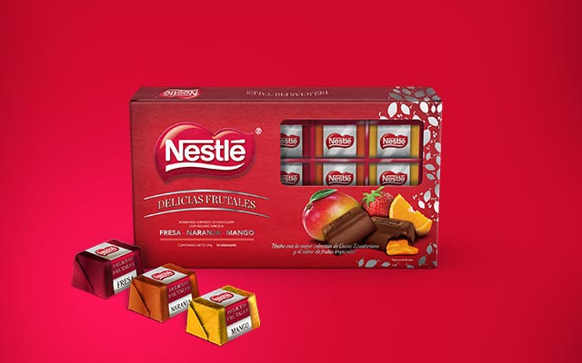 Primary and secondary packaging design for Nestlé's premium limited edition Fruit Delights, Colombia - Imaginity