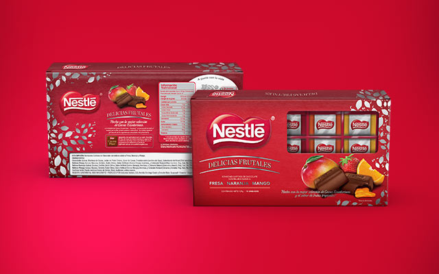 Front and back of the packaging design for the Nestlé Fruit Delights box of filled chocolates - Imaginity