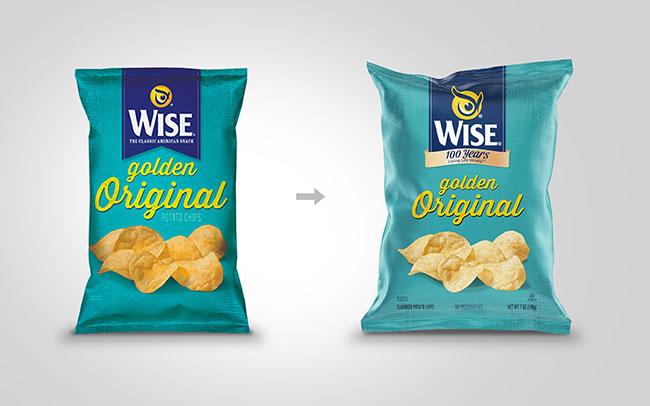 Aplicación del diseño de marca para Wise snacks USA, con motivo del 100 aniversario en el pack de Golden Original