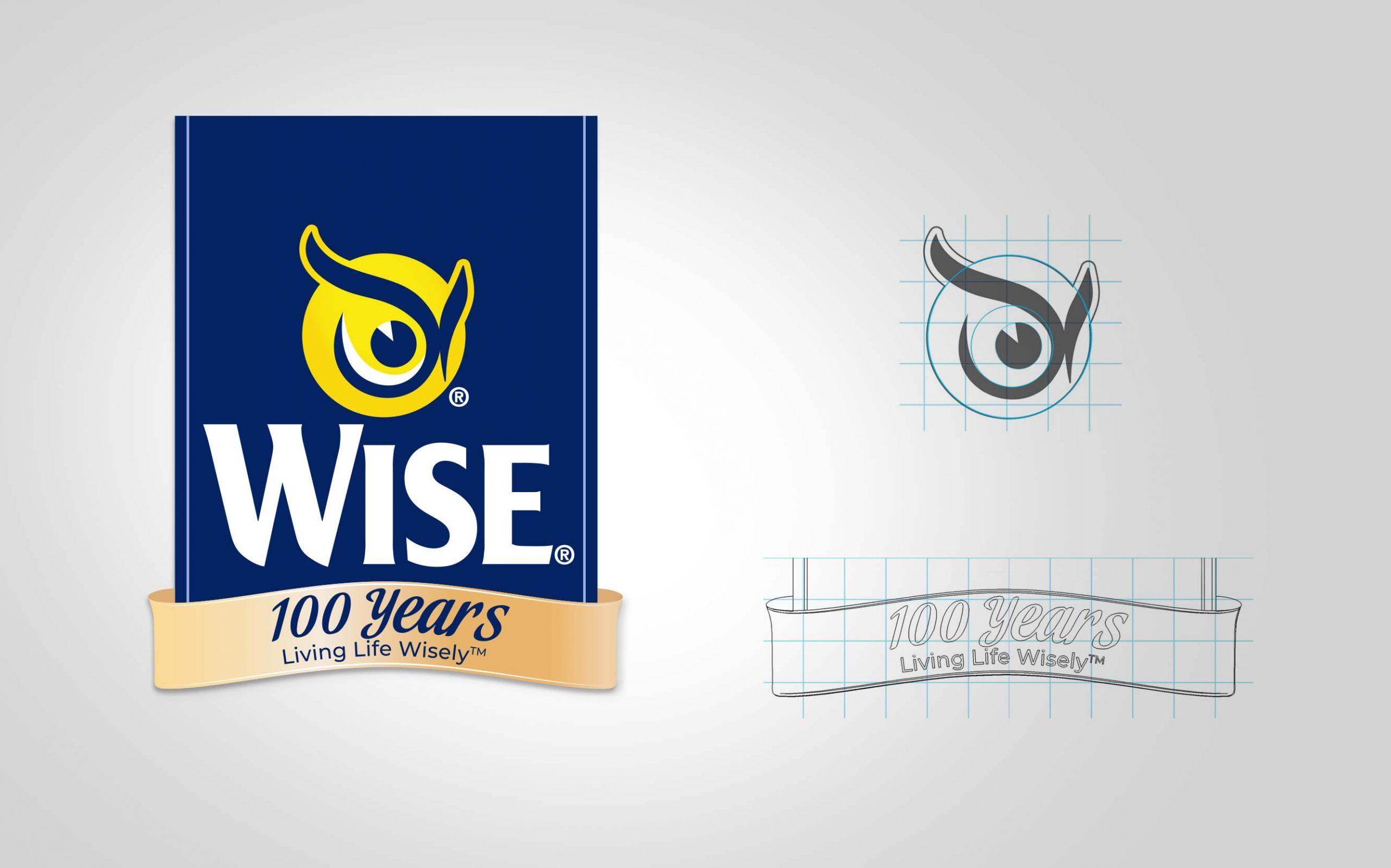 Detalhe do desenho da marca Wise para comemorar seus 100 anos e sua grade construtiva