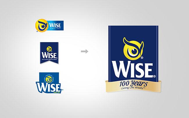 Diseño de branding para celebrar el 100 aniversario de la marca Wise snacks de USA. Unificación de la marca a través de la línea de productos