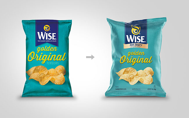 Brand design application for Wise Snacks USA, on the occasion of the 100th anniversary in the Golden Original pack