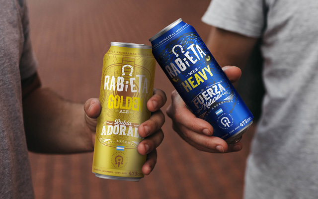 Consumers enjoying Packaging Design Rabieta Crafted Beer Beverage for 473cc cans, Golden Ale y wee Heavy style, Argentina by Imaginity