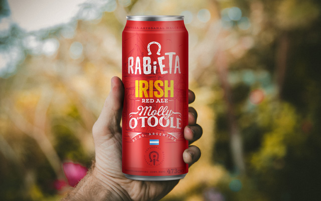 Packaging Design Rabieta Crafted Beer Beverage for 473cc can, Irish Red Ale style, Argentina by Imaginity