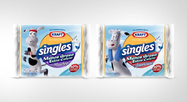 Diseño de pack con personaje, varios sabores para la línea completa de quesos Singles, de Kraft Foods - Imaginity