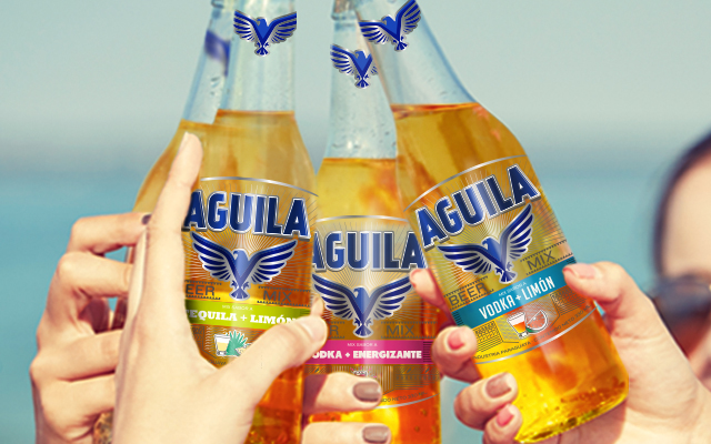 Friends enjoying the packaging design and branding for the new Aguila Paraguay flavored beer. Design: Imaginity.