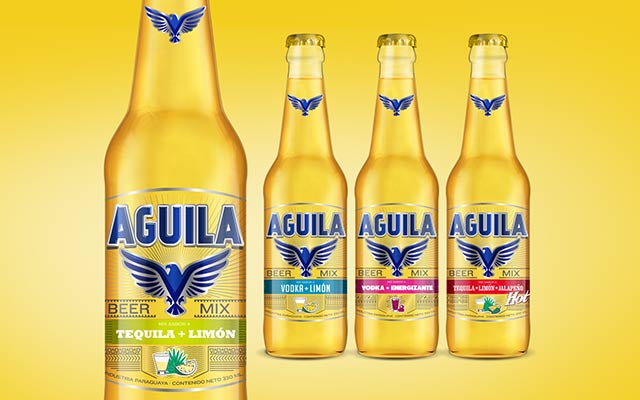 Packaging and branding design for the new Aguila Paraguay flavored beer. Detail of the line. Design: Imaginity.