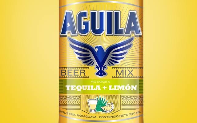 Detalle de diseño de packaging y branding para la etiqueta de la nueva cerveza saborizada Aguila Paraguay. Diseño: Imaginity.