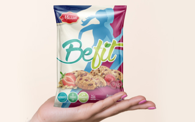 Branding and packaging design for BeFit, the healthy biscuit line from Mazzei, Paraguay - Imaginity