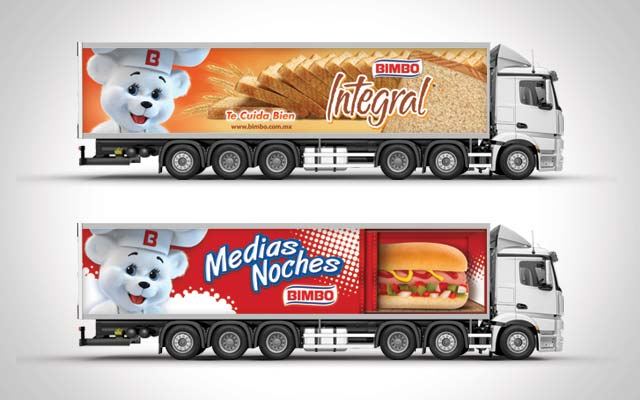 Brand communication and design of the Bimbo truck fleet. Whole Wheat Bread and Hot Dog Bread - Imaginity