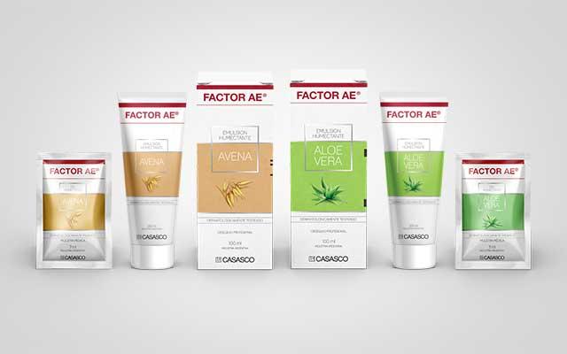 Diseño de packaging para la línea de productos de la crema corporal Factor AE del laboratorio Casasco. Diseño: Imaginity.