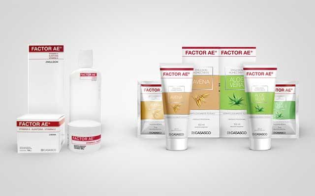 Antes y después del diseño de packaging para la crema corporal Factor AE del laboratorio Casasco. Diseño: Imaginity.