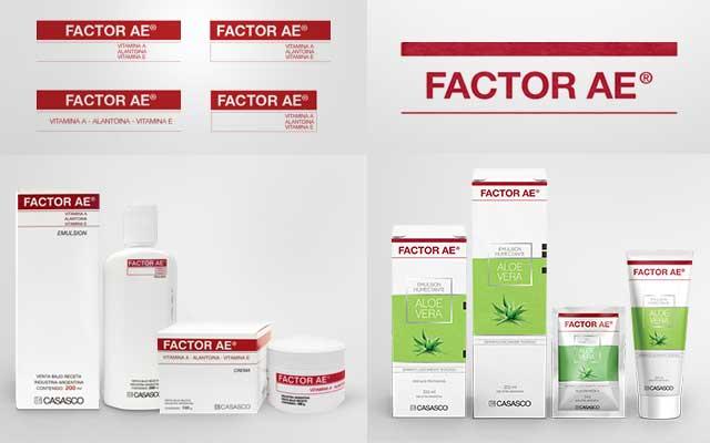 Antes y después del diseño de packaging y branding para la crema corporal Factor AE del laboratorio Casasco. Diseño: Imaginity.