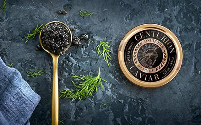 Desarrollo de diseño de marca y packaging para las latas de caviar Centurion, Estados Unidos - Imaginity