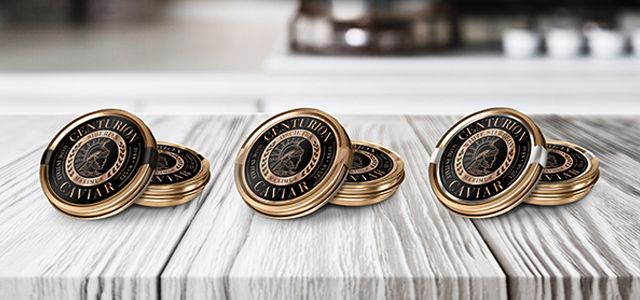 Label design for the exclusive line of Centurion caviar in its three varieties, United States - Imaginity
