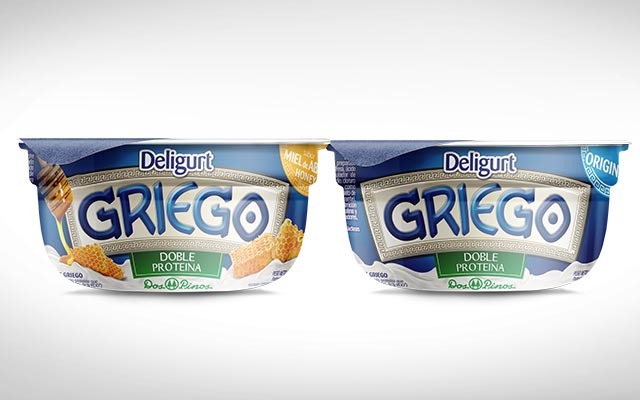 Detail of the packaging design for the new Delight Greek yogurt line, Dos Pinos. Design: Imaginity