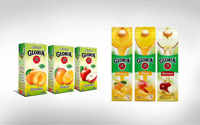 Line opening of Packaging Design for Gloria Juices, before and after redesign, Perú by Imaginity