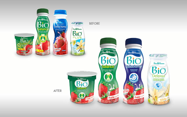 Before and after pack design, logo and brand identity for Bio yogurts, Central America - Imaginity