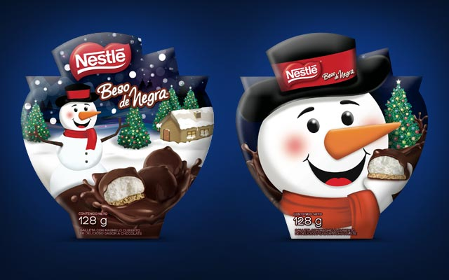 Packaging Design for Nestle Christmas special edition of Beso de Negra mush mellows chocolates, in Colombia by Imaginity