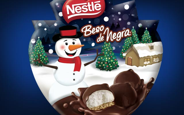 Packaging Design for Nestle Christmas special edition of Beso de Negra mush mellows chocolates, close-up pack by Imaginity