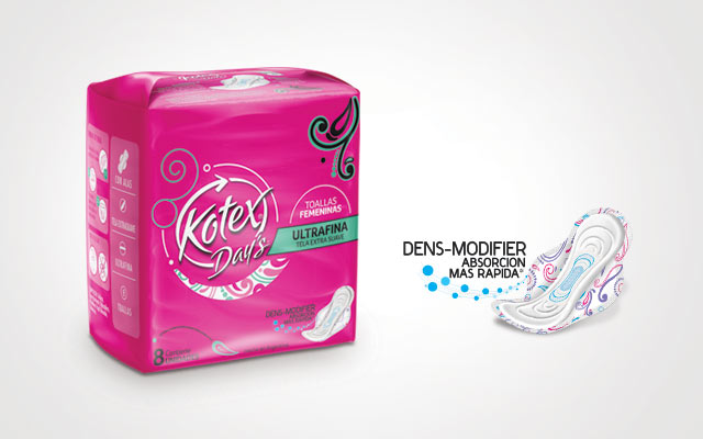 New double-sided pack design, brand identity and icon design for the product line for Kotex Day's, Imaginity