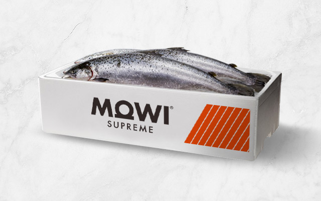 Packaging Design for Mowi Supreme salmon box, by Imaginity