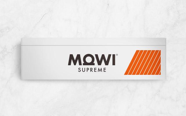 Novo design de embalagem para Mowi Supreme, peixe fresco, vista frontal da Imaginity