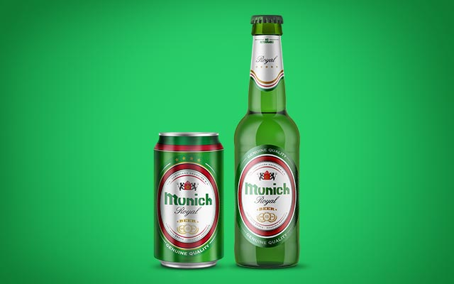 New packaging design for the Royal line of Munich beers in can format, Paraguay - Imaginity