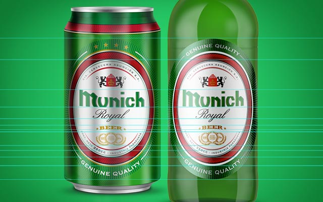 Structure based on the label of the Munich beer bottle belonging to the same line - Imaginity