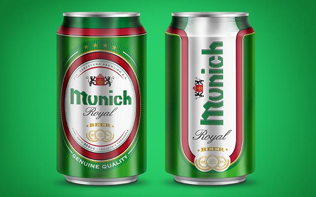 Double-sided packaging design for Munich Royal beer can, Paraguay - Imaginity